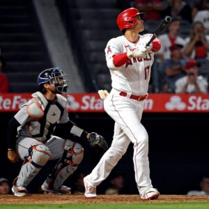 Angel's Shohei Ohtani swinging during an at bat